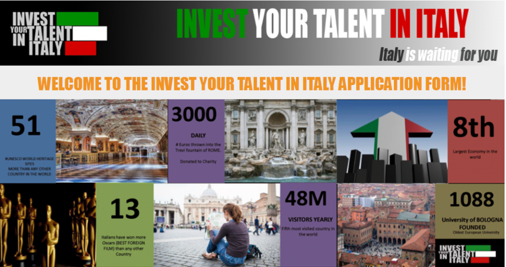 hoc bong invest your talent in italy