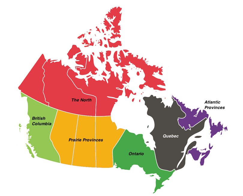 Bản đồ các bang của Canada