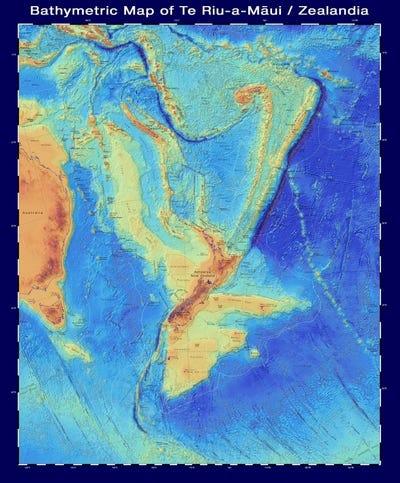 Bản đồ 4D về bờ biển phía tây của Zealandia - New Zealand thuộc châu lục nào?
